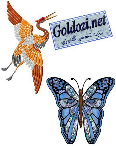 دوخت پروانه و پرنده به صورت گلدوزی